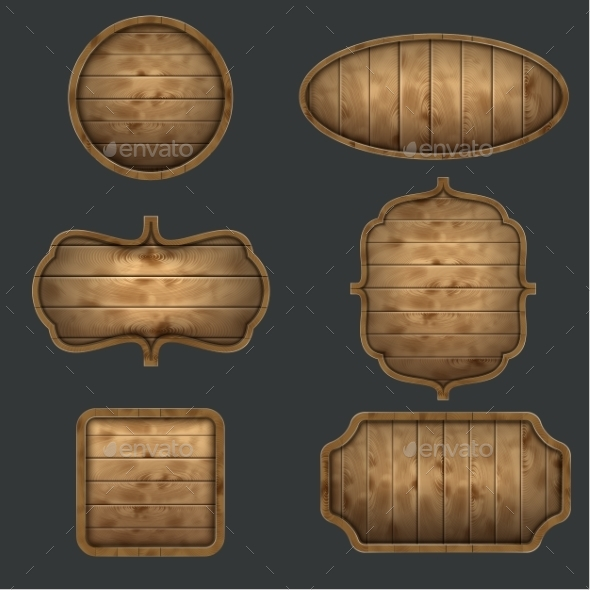 High Quality Set of Wooden Signboards - Objects Vectors