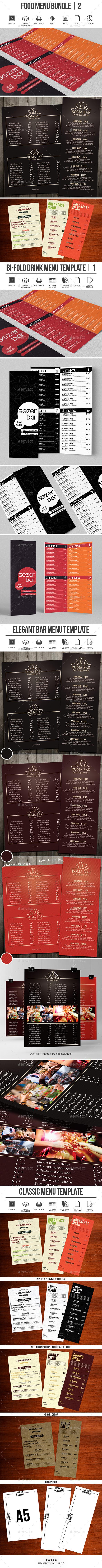 Food Menu Bundle 02 - Food Menus Print Templates