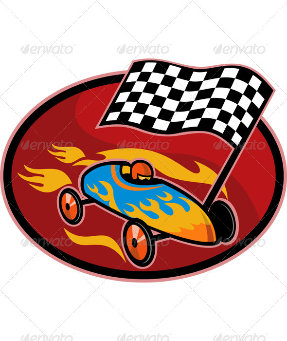 Soap Box Derby Car Racing Checkered Flag - Sports/Activity Conceptual