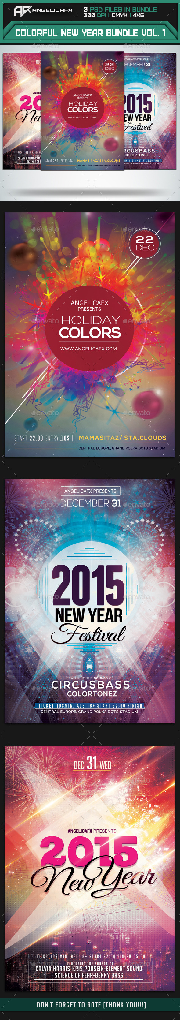 Colorful New Year Flyers Bundle Vol 1 - Events Flyers