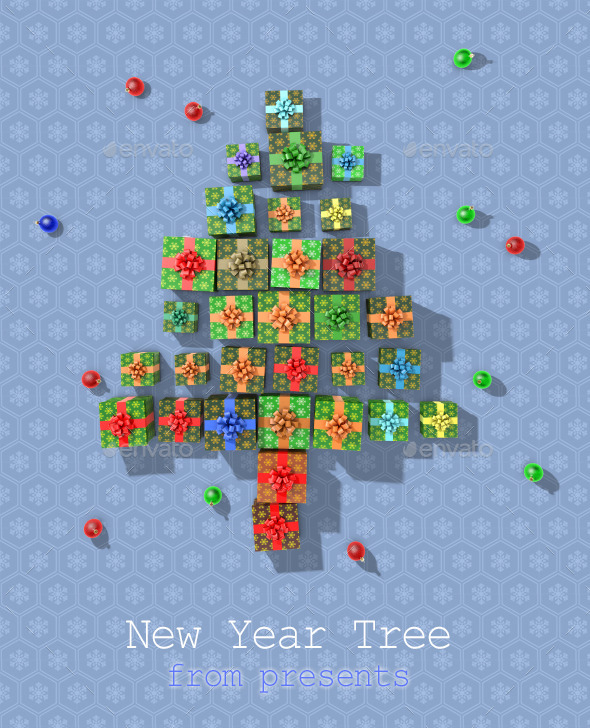 New Year Tree From Presents - Objects 3D Renders