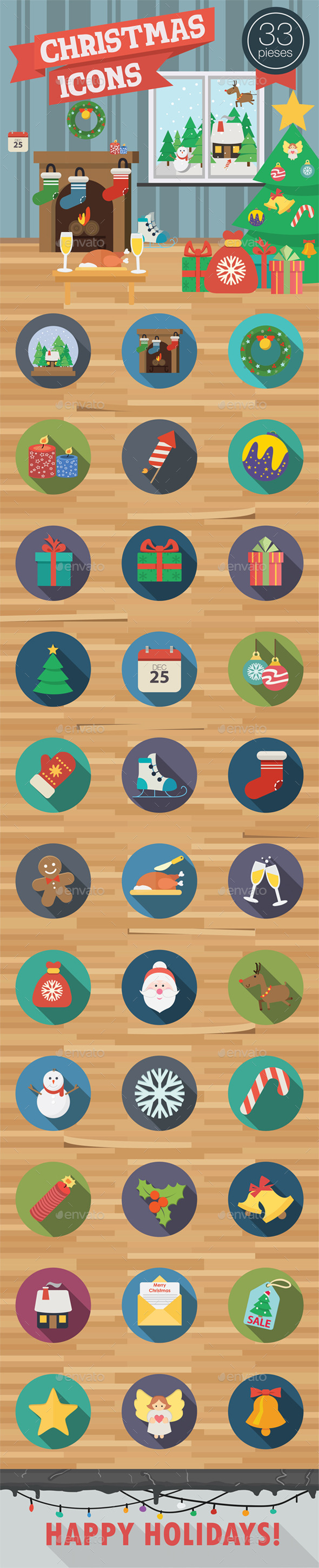Christmas Icons in Flat Style - Seasonal Icons