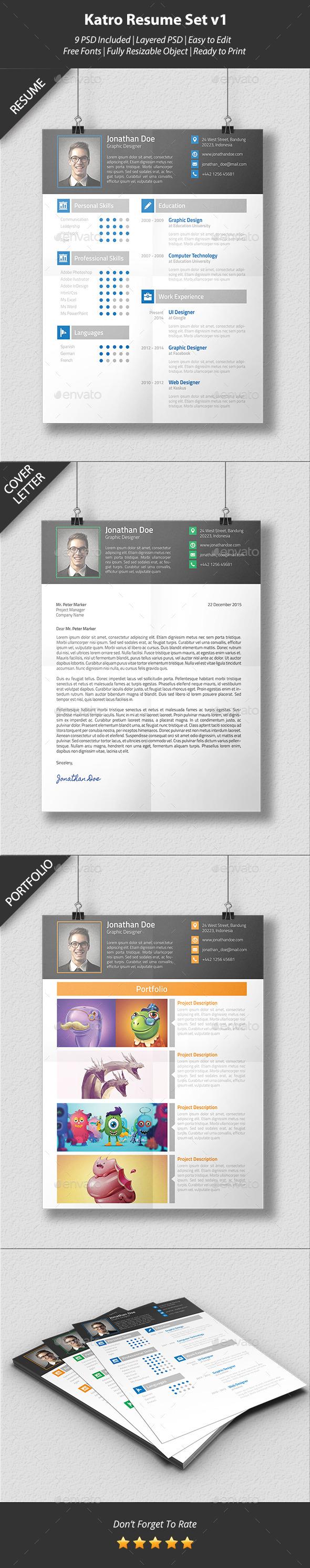 Katro Resume Set v1 - Resumes Stationery