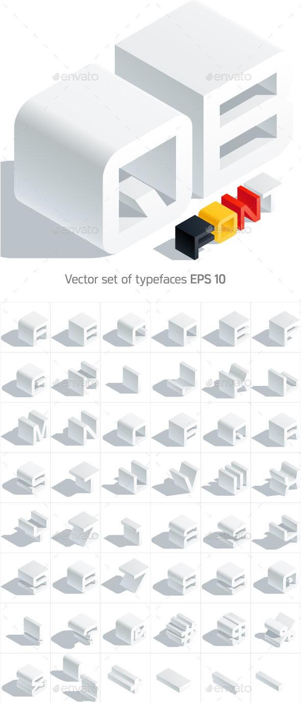 Vector 3D isometric white letters - Decorative Symbols Decorative