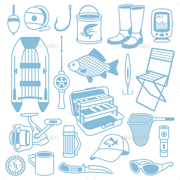 Fishing Seamless Pattern - Vectors