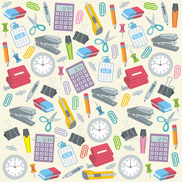 Office Supplies Seamless Background - Objects Vectors