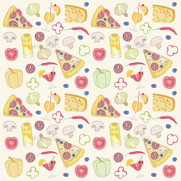 Pizza Seamless Pattern - Food Objects