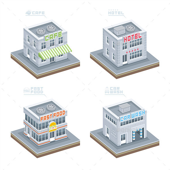Set of Isometric Buildings - Business Conceptual
