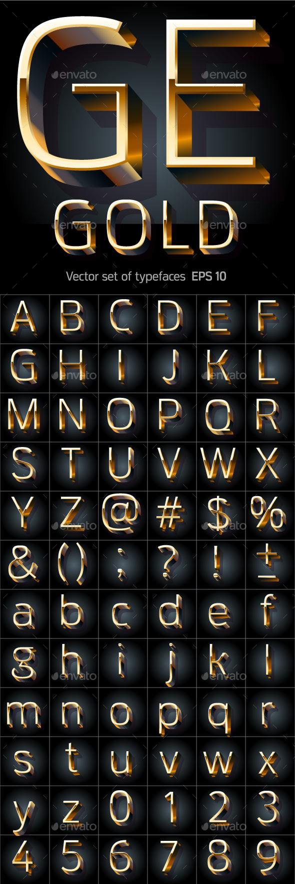 Golden Alphabet - Decorative Symbols Decorative