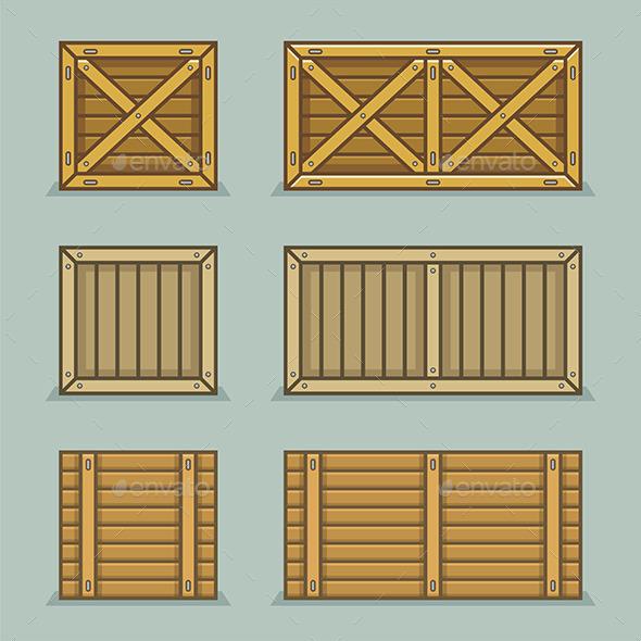 Wooden Boxes - Vectors