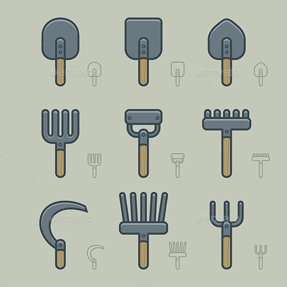 Gardening Tools Icons - Vectors