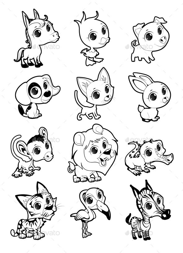 Farm and Wild Animals in Black and White - Animals Characters
