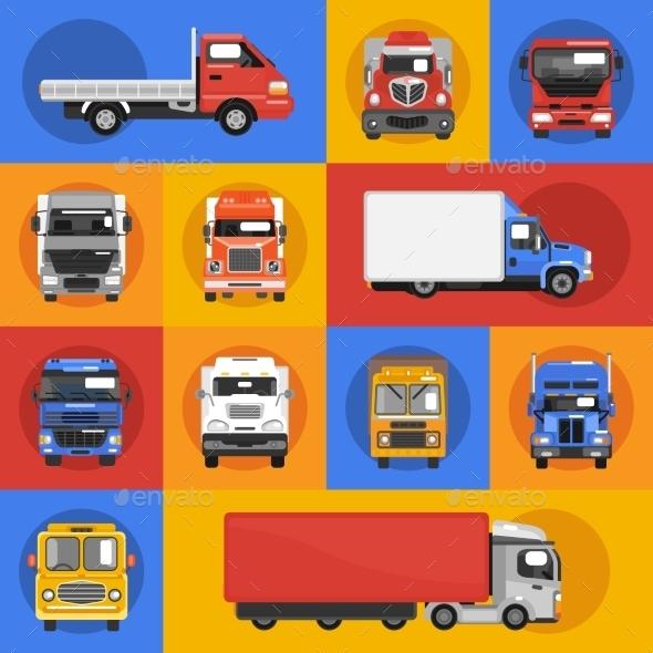 Truck Icons Flat - Conceptual Vectors