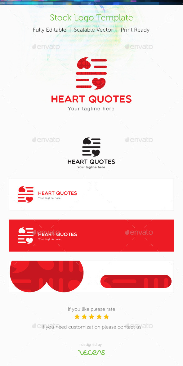 Heart Quotes Stock Logo Template - Symbols Logo Templates