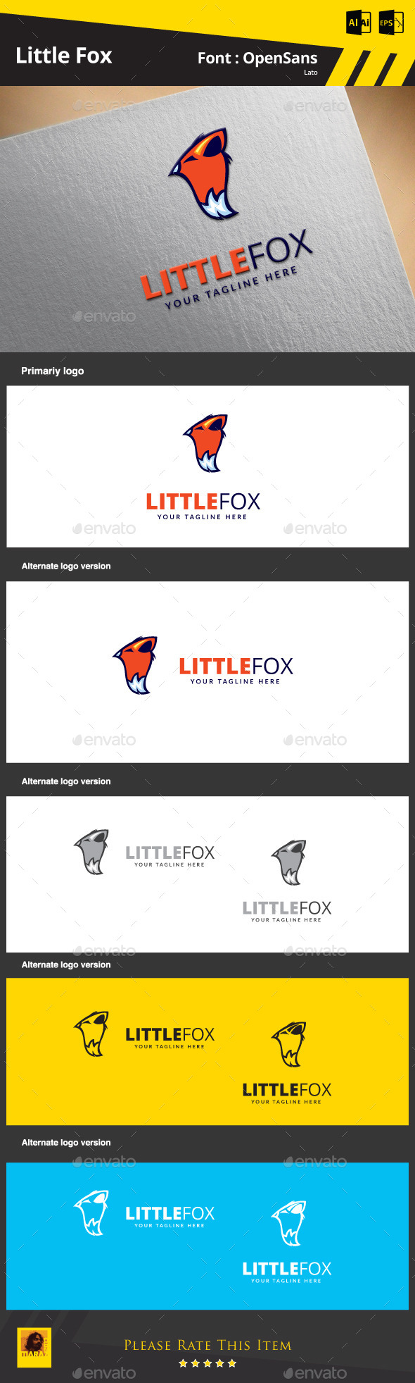Little Fox Logo Template - Animals Logo Templates