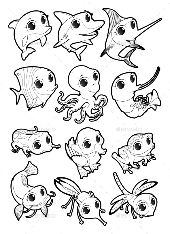 Marine Animals and Fauna of the Pond - Animals Characters