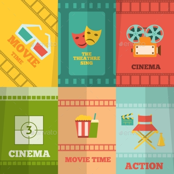 Cinema Icons Composition Poster Print - Media Technology