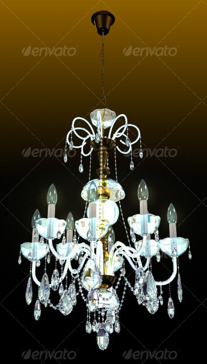 Bronze Crystal Chandelier - 3DOcean Item for Sale
