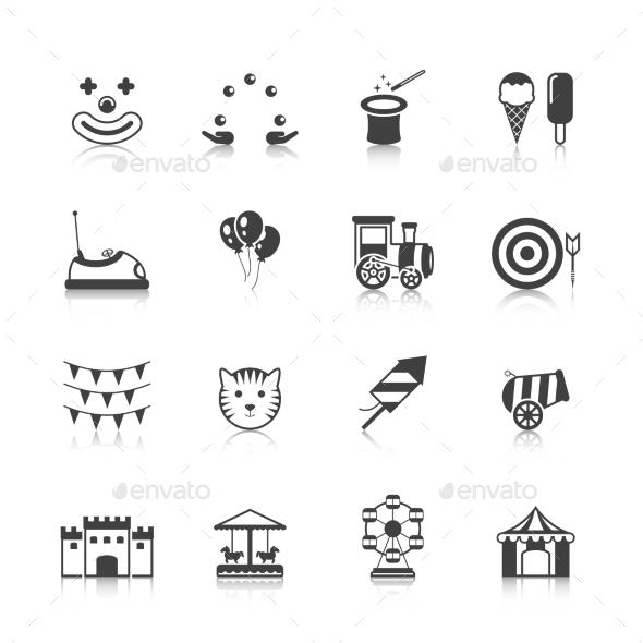 Amusement Park Icons Black - Web Elements Vectors