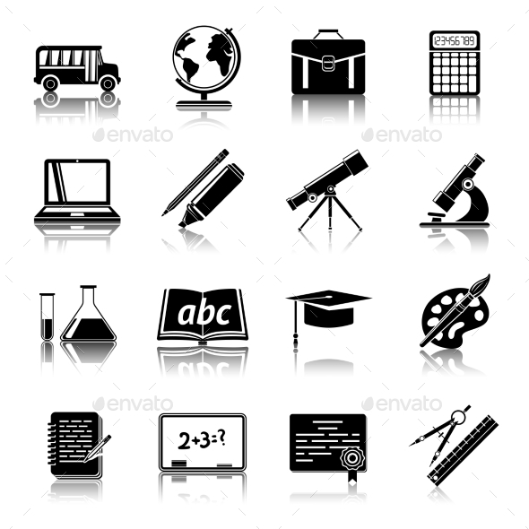 Education Icons Set - Web Elements Vectors