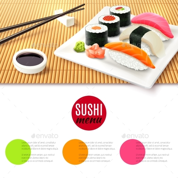 Sushi and Bamboo Mat - Food Objects