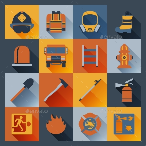 Firefighter Icons Flat - Web Elements Vectors