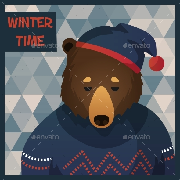 Big Brown Hipster Bear in Sweater - Animals Characters