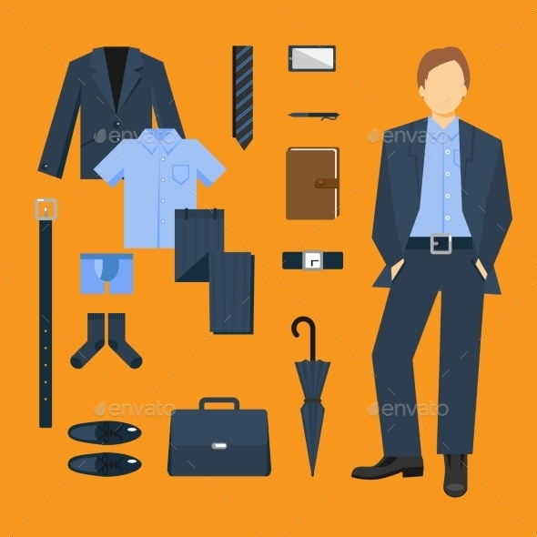 Business Man Clothes Set - People Characters