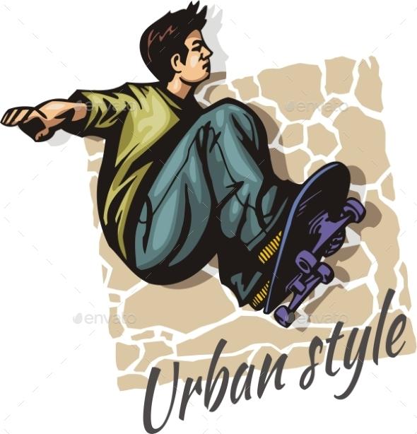 Jump on a skateboard -  vector color illustration - Sports/Activity Conceptual