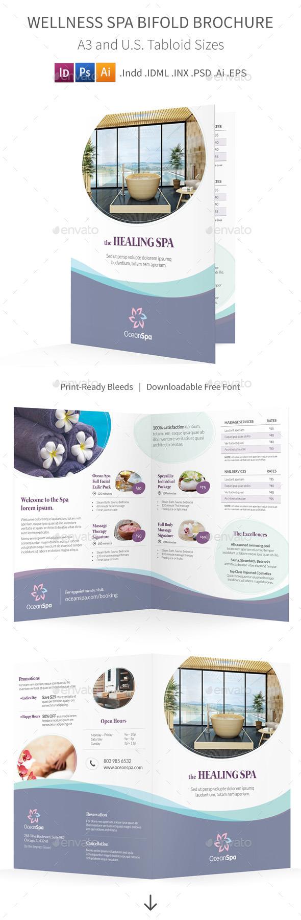 Wellness Spa Bifold / Halffold Brochure - Informational Brochures