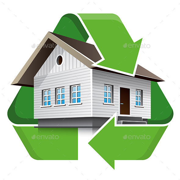 House Recycling Symbol - Buildings Objects