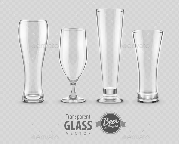 Glasses for Beer Drinking in Pub Empty Set - Miscellaneous Vectors