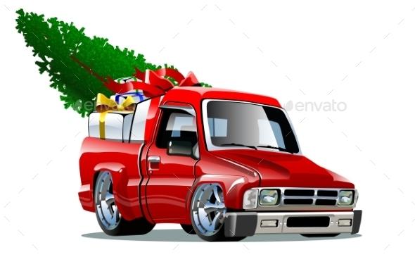 Cartoon Christmas Pickup - Christmas Seasons/Holidays