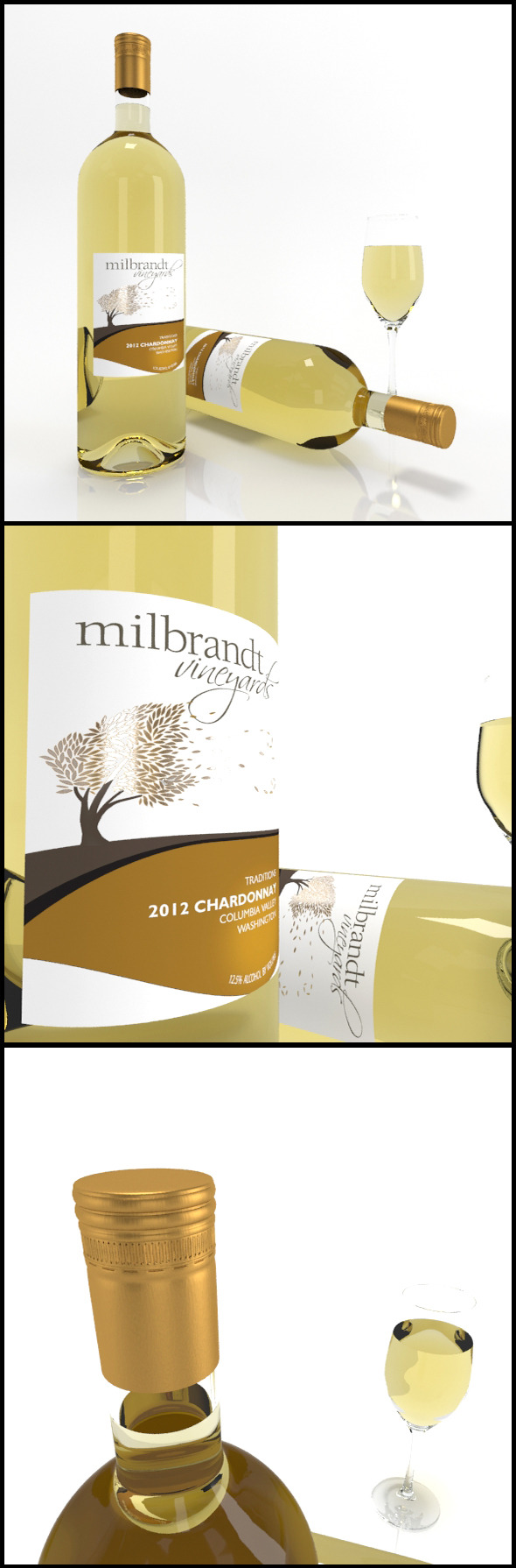 Chardonnay wine bottles & full glass: Milbrandt - 3DOcean Item for Sale