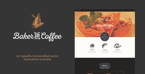 Baker & Coffee .PSD Template - Restaurants & Cafes Entertainment