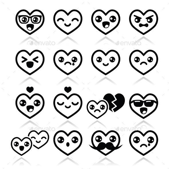 Kawaii Hearts Valentine's Day Icons - Valentines Seasons/Holidays
