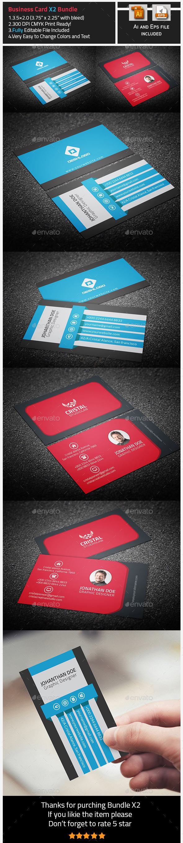 Business Card Bundle-X2 - Corporate Business Cards