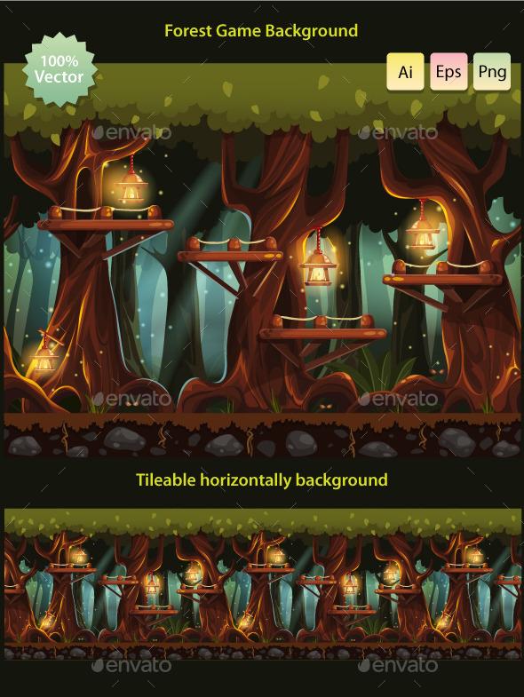 Tillable Background Night Forest - Backgrounds Game Assets