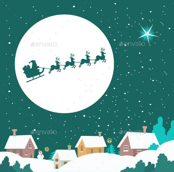 Santa Riding His Sleigh Across the Winter Sky - Christmas Seasons/Holidays