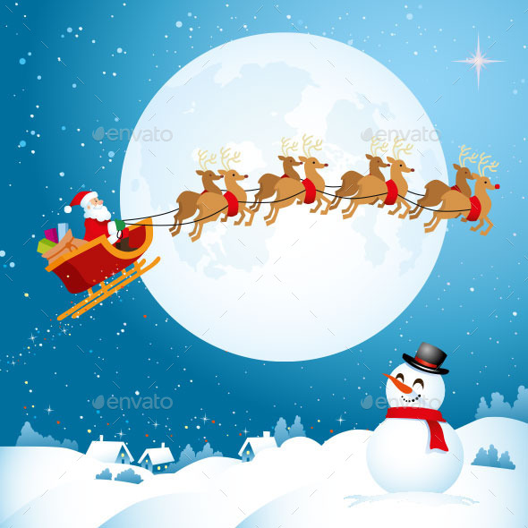 Santa Travelling Across the Night Sky - Christmas Seasons/Holidays