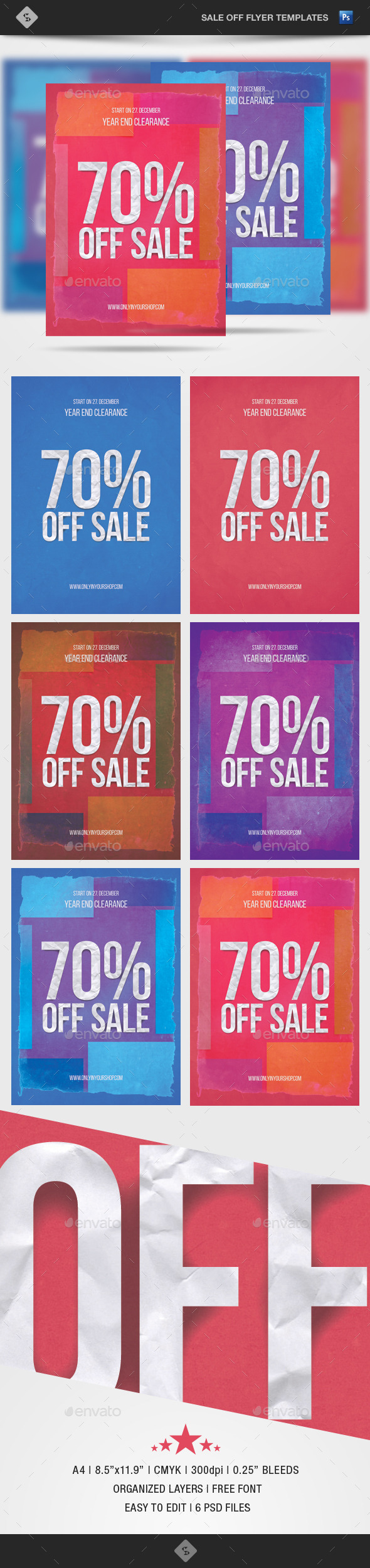 Sale Off Flyer Template - Paper Art - A4 - Commerce Flyers
