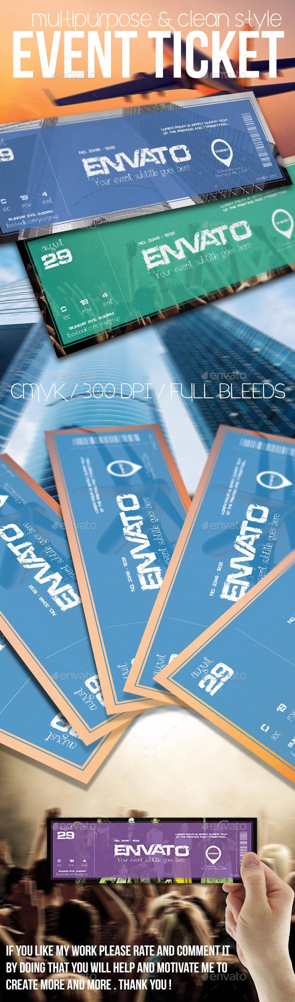 Multipurpose event ticket - Cards & Invites Print Templates