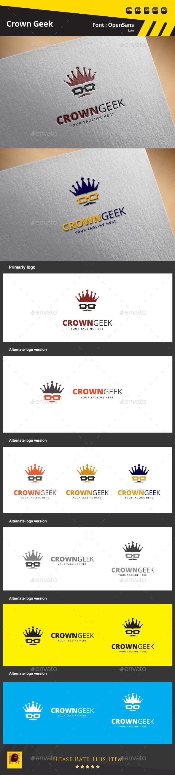 Crown Geek Logo Template - Symbols Logo Templates