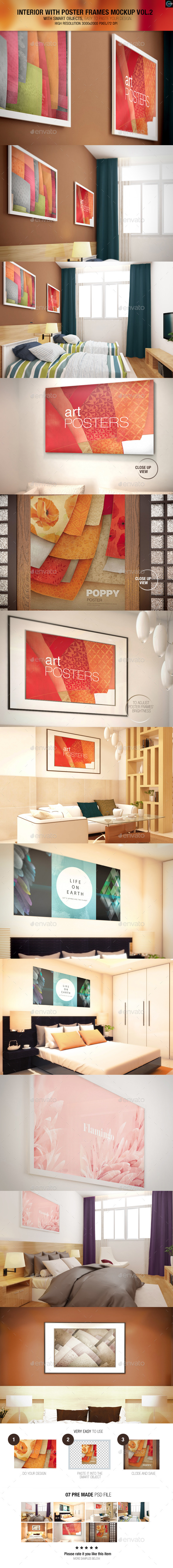 Interior With Poster Frames Mock-up Vol.2 - Miscellaneous Displays