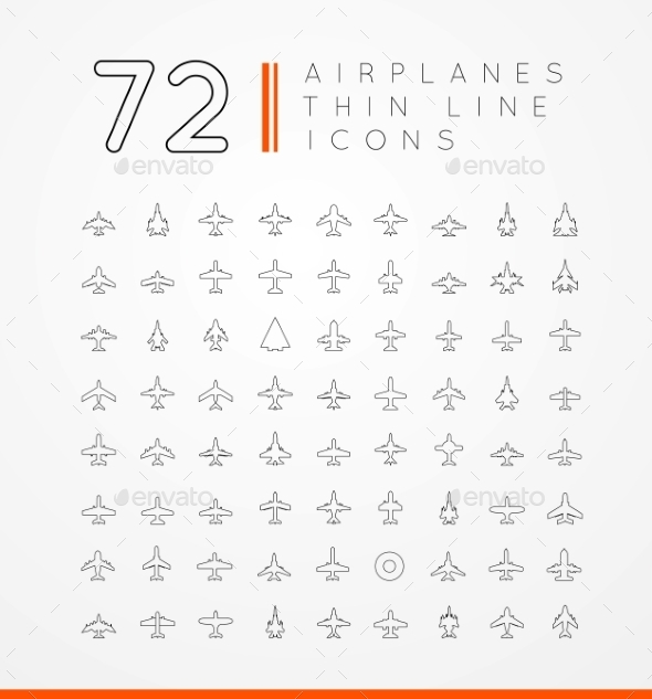 Airplane Icons - Travel Conceptual