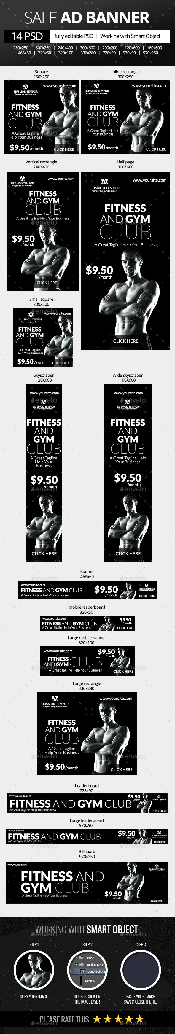 Fitness and Gym Club Web Banners - Banners & Ads Web Elements