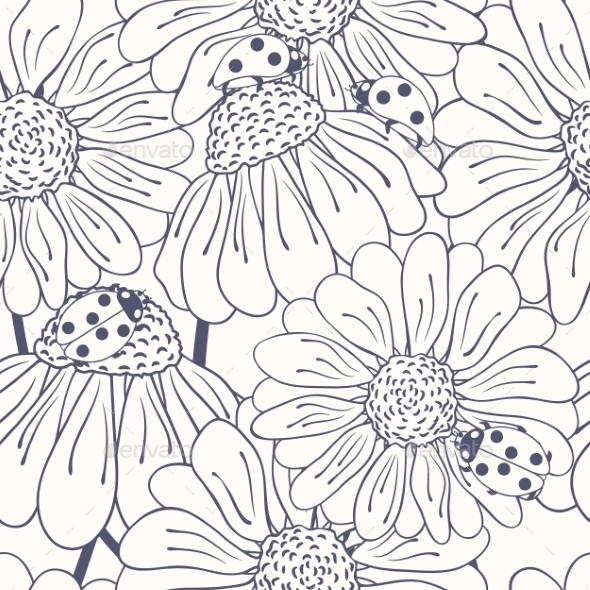 Ladybug and Daisy Outline Seamless Pattern - Patterns Decorative