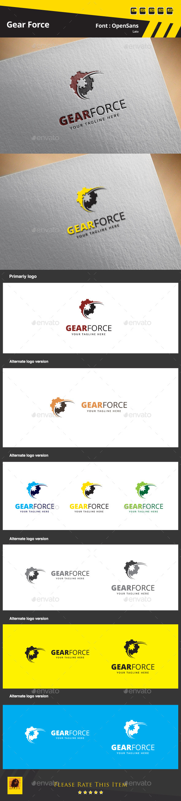 Gear Force Logo Template - Symbols Logo Templates