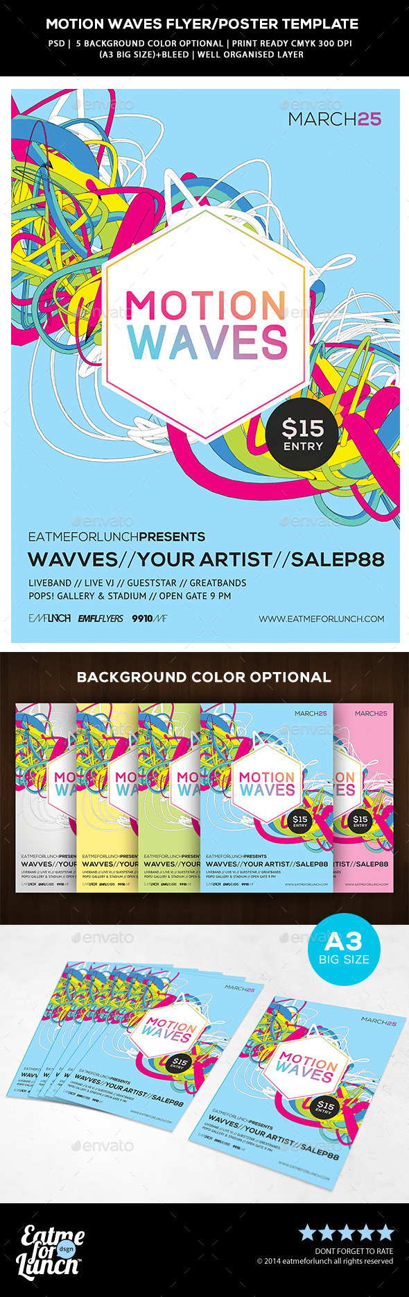 Futuristic Abstract Flyer/Poster - Motion Waves - Concerts Events