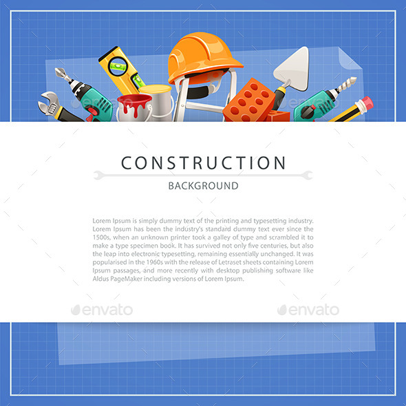 Blueprint Construction Background with Copy Space - Backgrounds Decorative